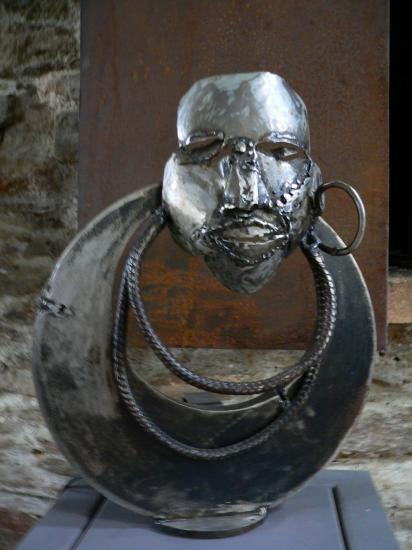 esclave africain lampe metal